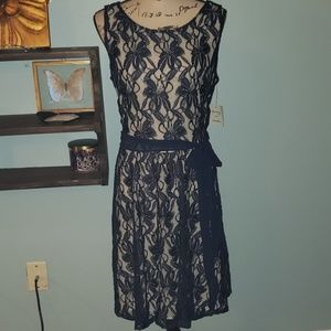 New Danny & Nicole Navy Lace Overlay A-Line Dress